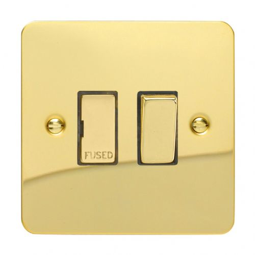 Varilight XFV6D Ultraflat Polished Brass 1 Gang 13A Switched Fused Spur